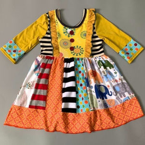 Other - Boutique Long Sleeve Multi Print Ruffle Dress